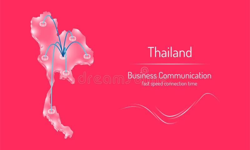 Är tid för anslutning för nätverket för snabb hastighet för affärskommunikationen på vitt exponeringsglas Thailand för smaragdkri royaltyfri illustrationer