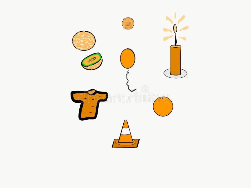 Är vilken sort av saker färgapelsinen? royaltyfri illustrationer