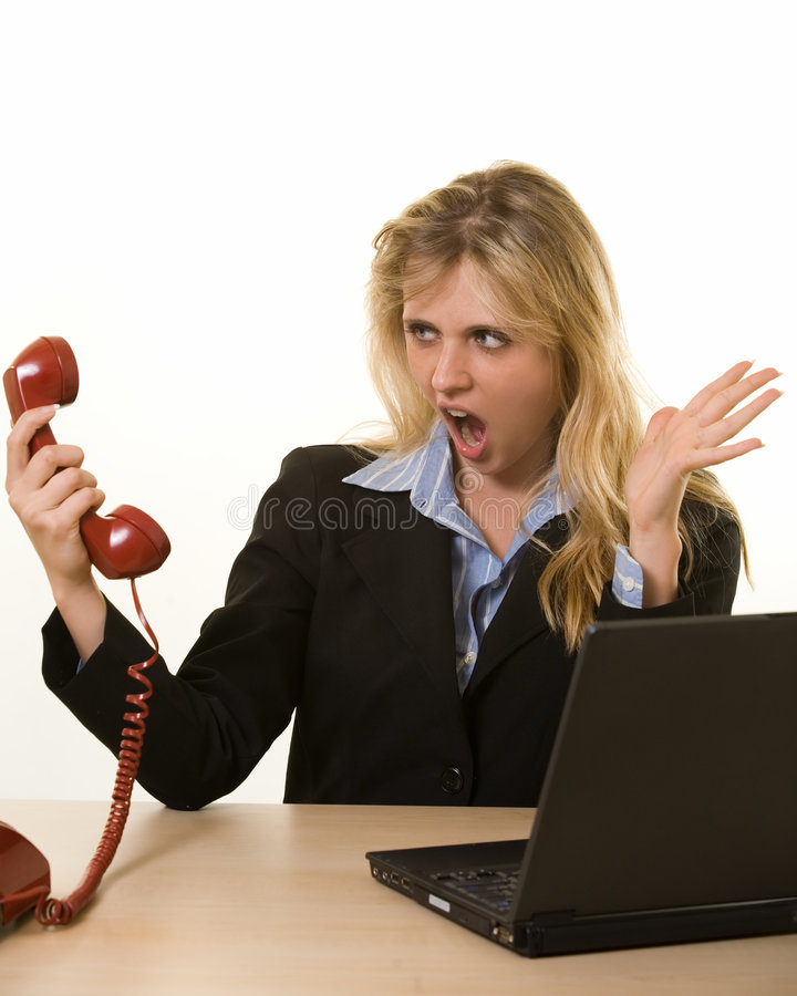 Ärgerlicher Telefonaufruf stockfotos