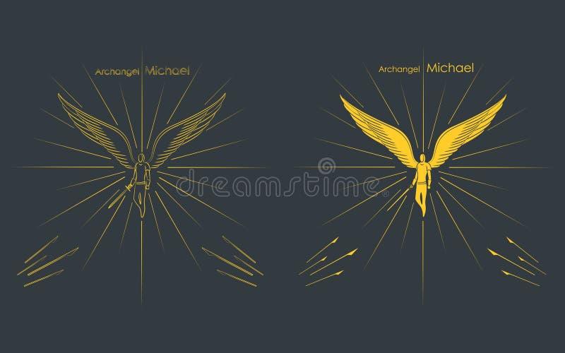 ärkeängel michael kristet symbol Översikt och färgad påfyllning vektor illustrationer