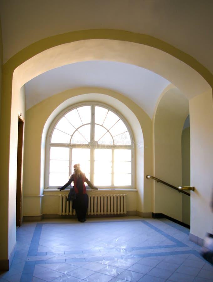 ärke- runt fönster fotografering för bildbyråer