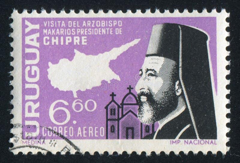Ärkebiskop Makarios och översikt av Cypern arkivbild