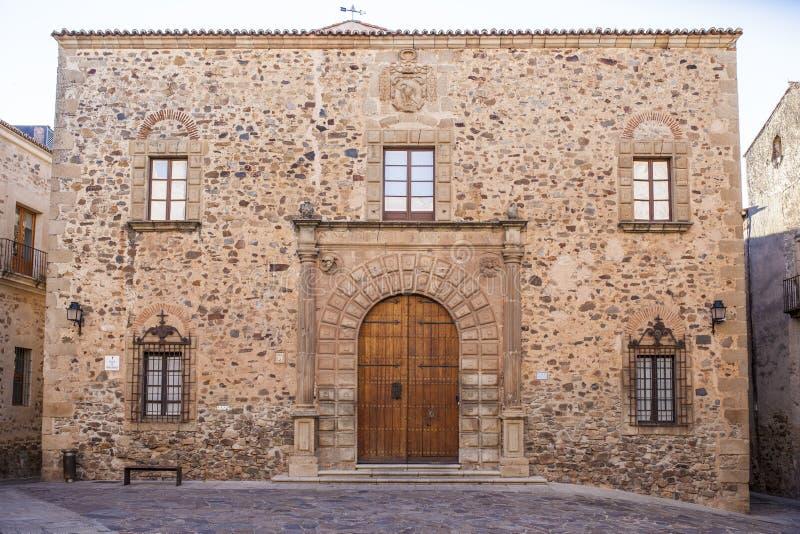 Ärkebiskop Palace Building, Caceres arkivfoton