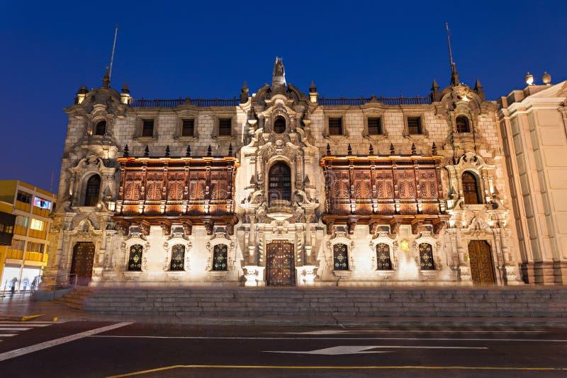 Ärkebiskop Palace, Lima royaltyfri fotografi