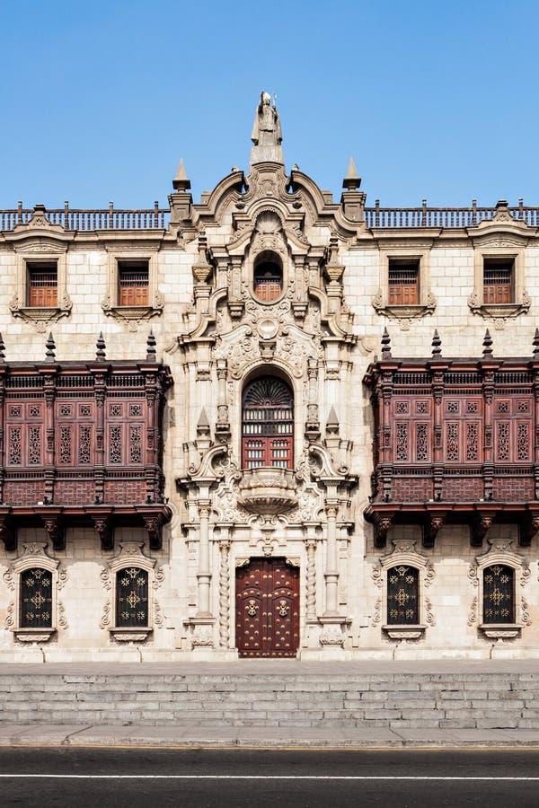 Ärkebiskop Palace, Lima royaltyfri foto