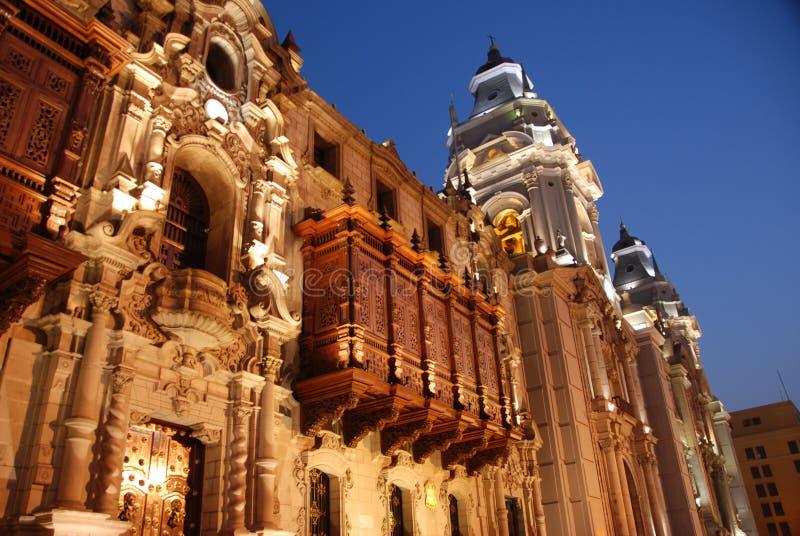 Ärkebiskopen Palace i Lima royaltyfria bilder