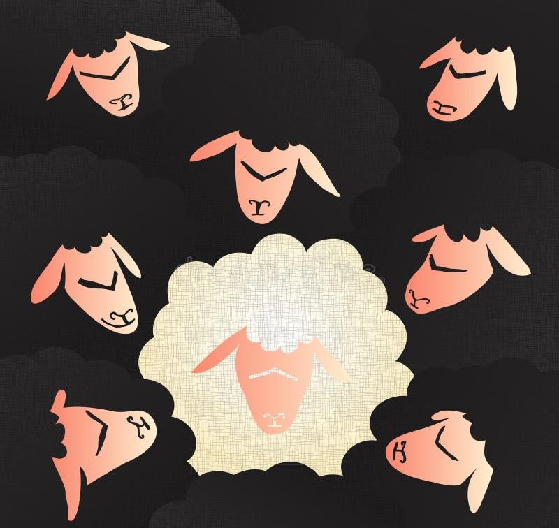 Ärliga och oskyldiga vita får i en flock av svarta får stock illustrationer