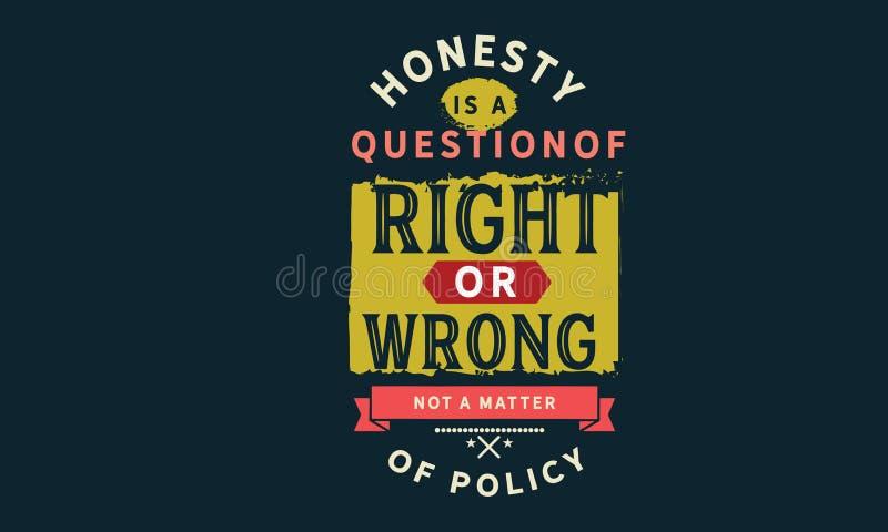 Ärlighet är en fråga av högert eller fel inte en fråga av politik vektor illustrationer