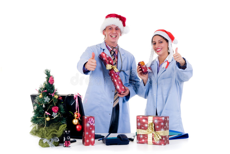 Ärzteteam, Weihnachten lizenzfreies stockbild