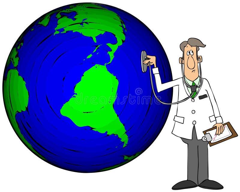 Ärztin überprüft Erde mit einem Stethoskop stock abbildung