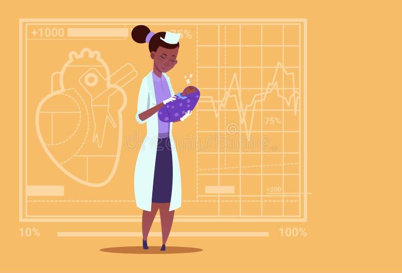 Ärztin-Hold Newborn Baby-Jungen-medizinisches Klinik für Geburtshilfe-Afroamerikaner-Arbeitskraft-Krankenhaus lizenzfreie abbildung