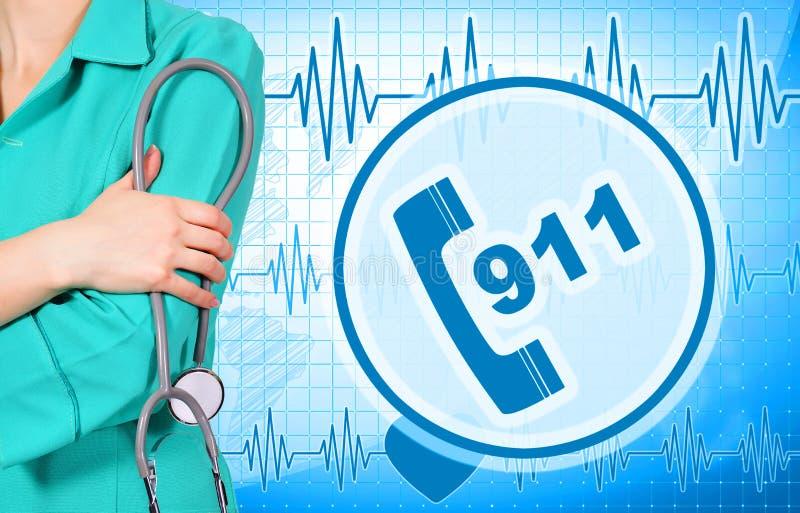 Ärztin und Symbol 911 vektor abbildung