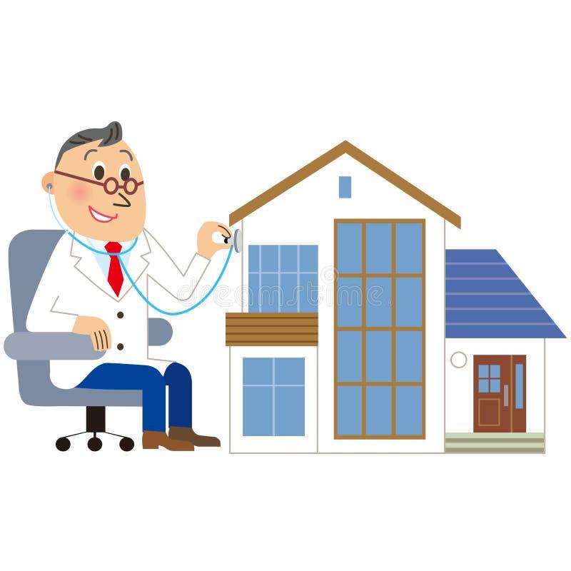 Ärztliche Untersuchung des Hauses vektor abbildung