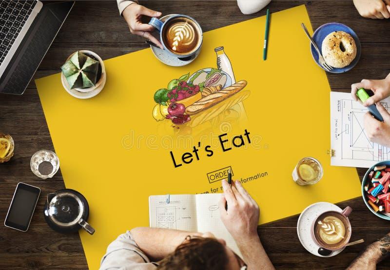 Äta att äta bosatt äta middag för näring bantar matbegrepp royaltyfria foton