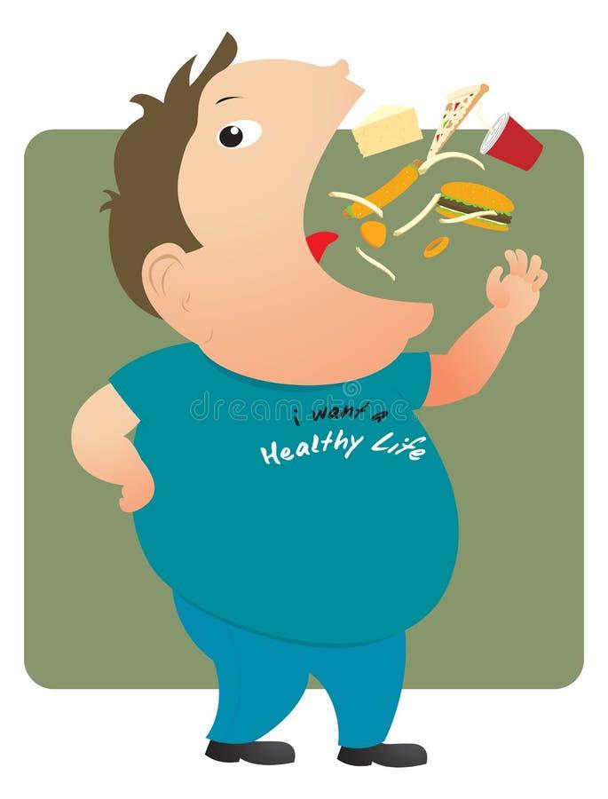 äta den feta mannen royaltyfri illustrationer