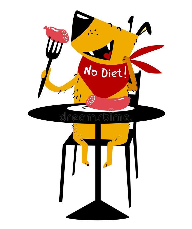 äta för hund En gladlynt hund sitter på en tabell och äter korven med vektor illustrationer