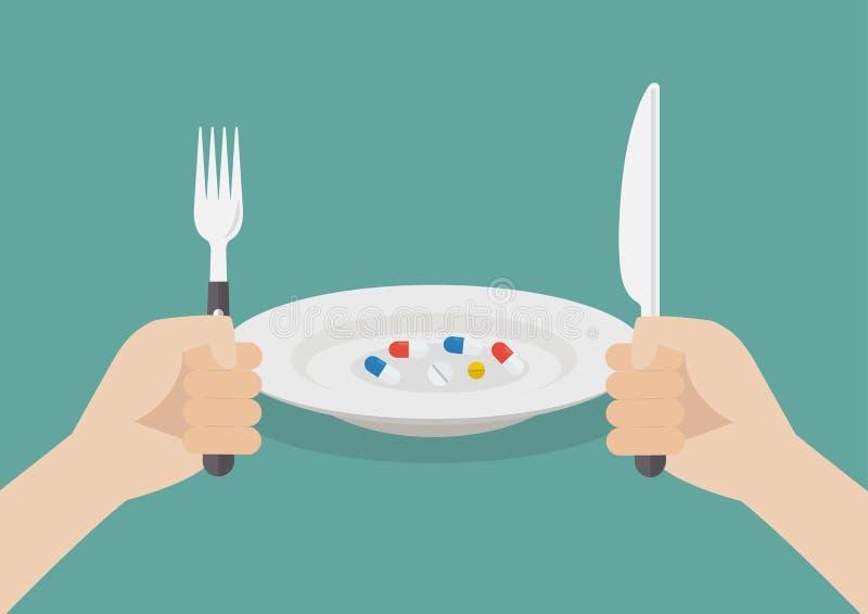 Äta för man preventivpillerar stock illustrationer