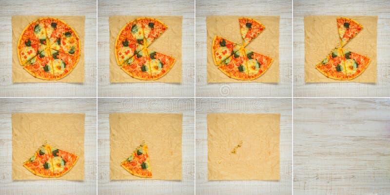 Äta för ramcollage för pizza 8 serie royaltyfria foton