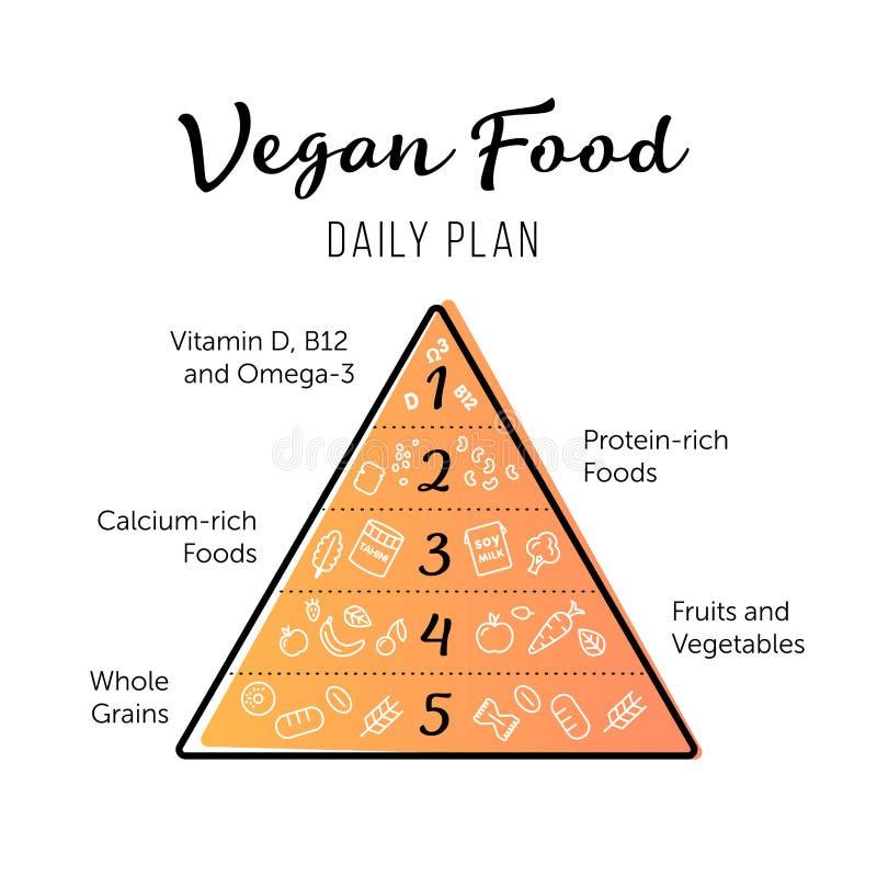 Äta för strikt vegetarian för matpyramid som sunt är infographic Rekommendationer av en sund livsstil Tinglinje symboler av produ vektor illustrationer
