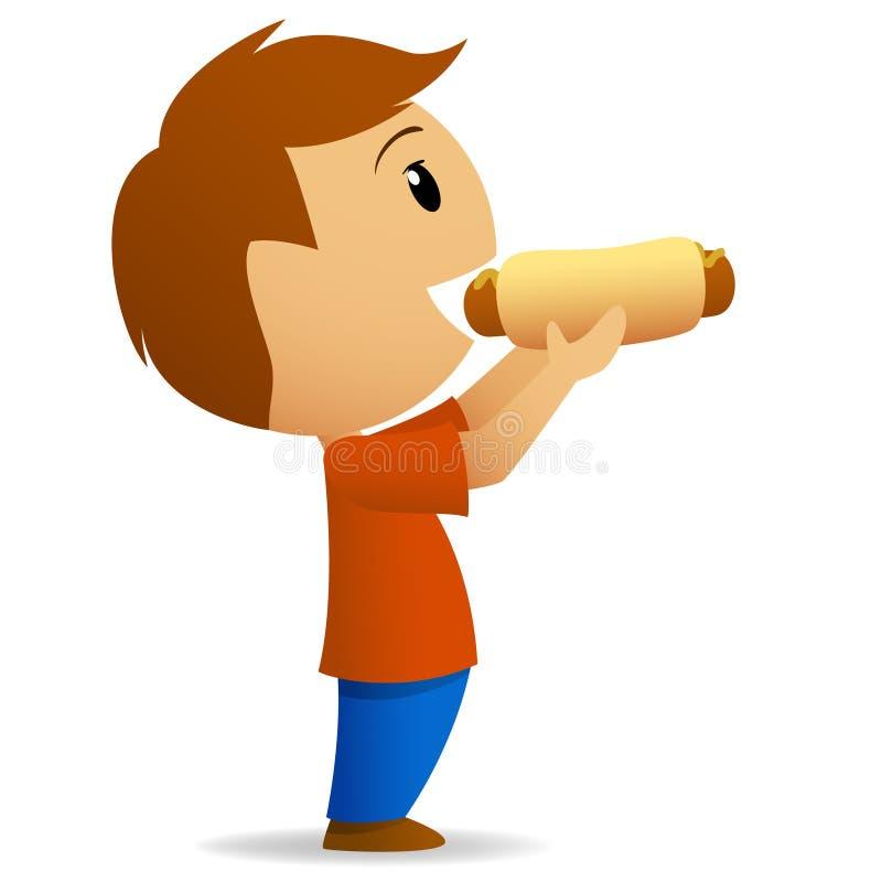 äta gående hotdogmän till barn vektor illustrationer