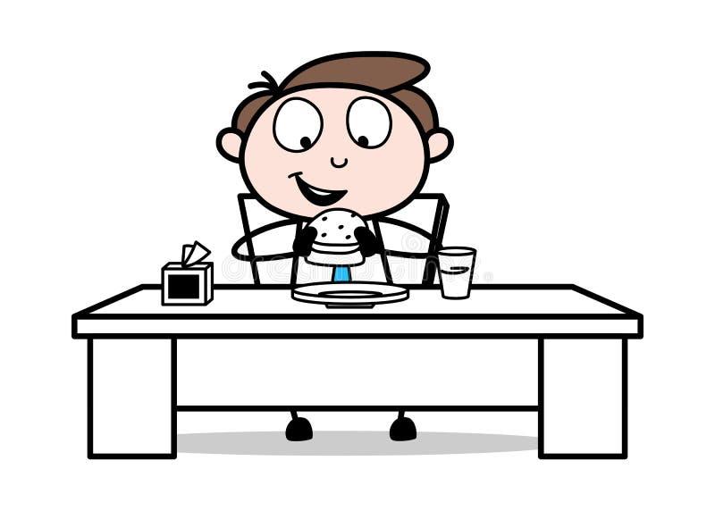 Äta hamburgaren - kontorsaffärsmanEmployee Cartoon Vector illustration arkivbilder