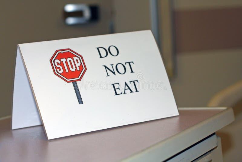 äta inte säger tecknet royaltyfri bild