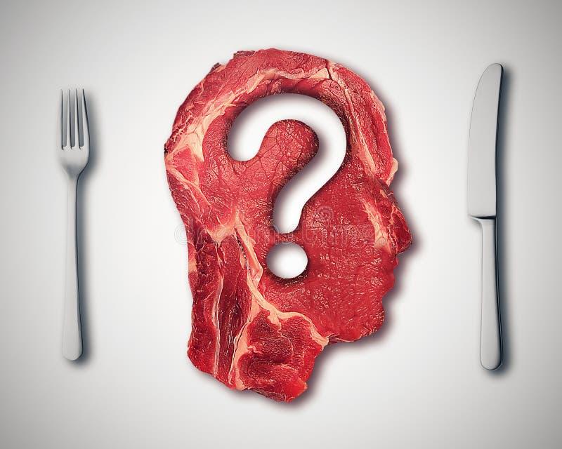 Äta kött ifrågasätter begrepp eller bantar näringbeslut royaltyfri illustrationer