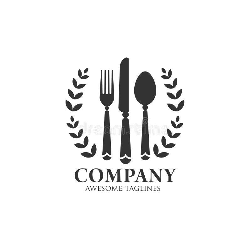 Äta logoen med tappning och flott stil vektor illustrationer