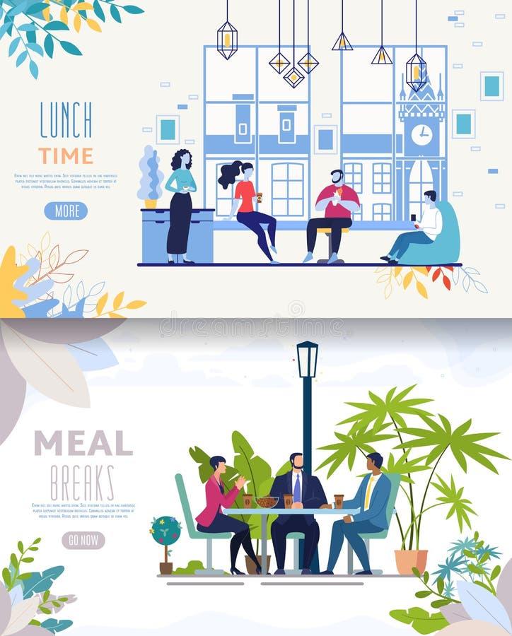 Äta lunch för vektorrengöringsduk för Businesspeople den plana uppsättningen för baner royaltyfri illustrationer