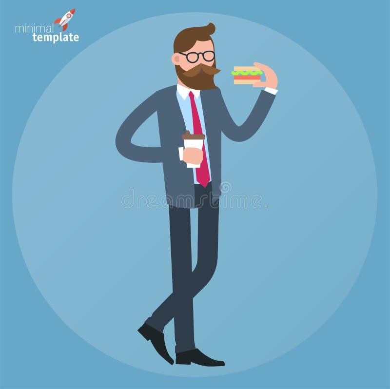äta mansmörgåsen stock illustrationer
