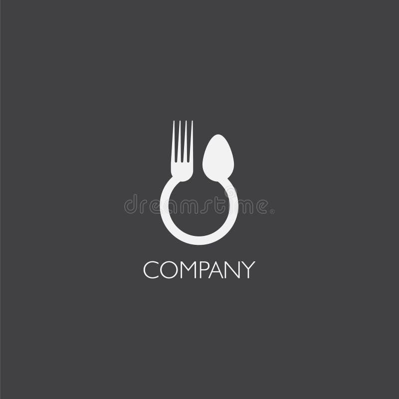Äta, matleveransen eller restorauntlogoen vektor illustrationer