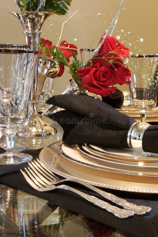äta middag formell ställelokalinställning arkivbild