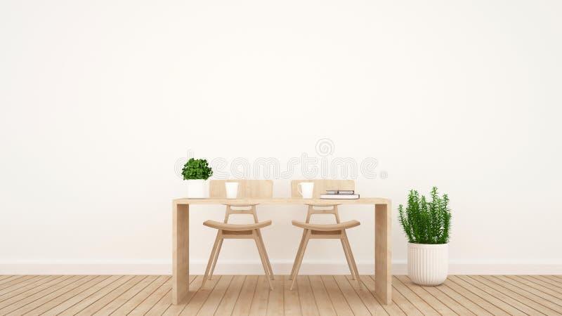 Äta middag område eller workspace i vardagsrum eller coffee shop - tolkning 3D royaltyfri illustrationer