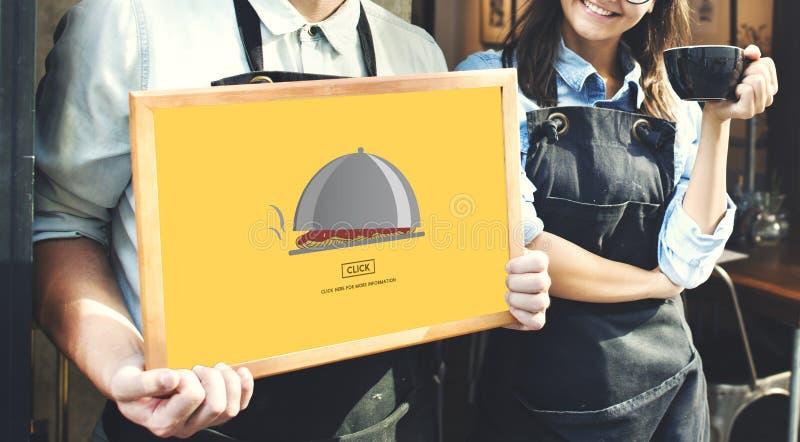 Äta middag sköta om begrepp för klick för matservice arkivbild