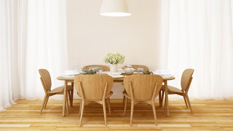 Äta middag som är fastställt i den minsta designen för vitt rum - tolkning 3D royaltyfri illustrationer