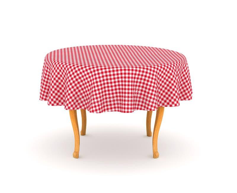Äta middag tabellen med bordduken royaltyfri illustrationer