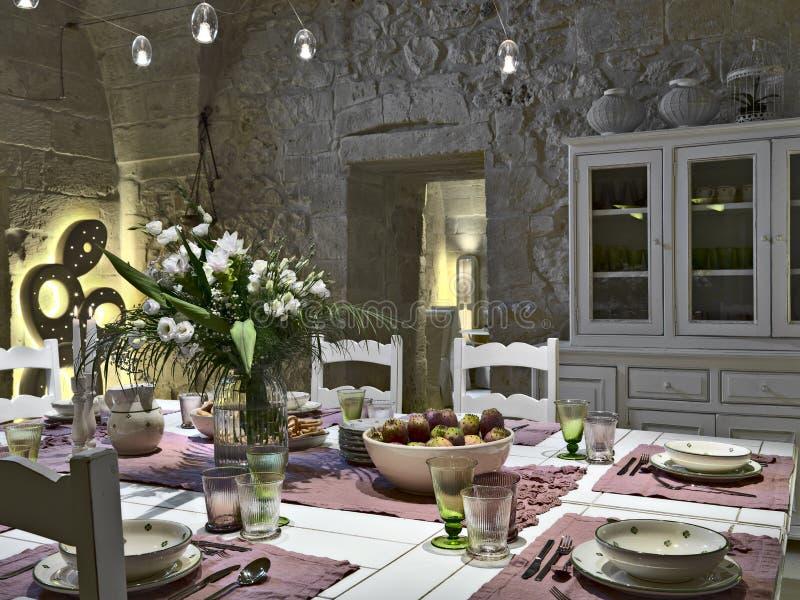 Äta middag tabelluppsättningen arkivfoton