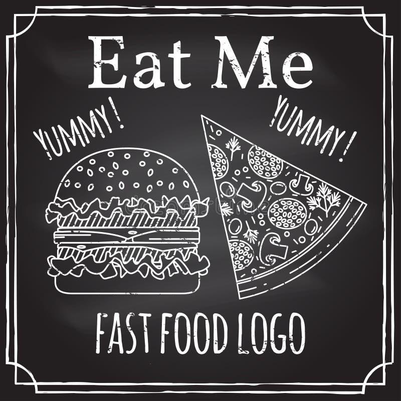 Äta mig Beståndsdelar på temat av restaurangaffären Kritateckning på en svart tavla Logo som brännmärker, logotyp, emblem med stock illustrationer