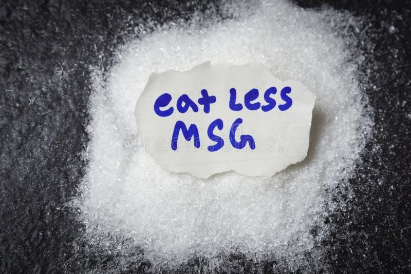 Äta mindre eller stoppa monosodium glutamat inga MSG för vård- begrepp royaltyfri fotografi