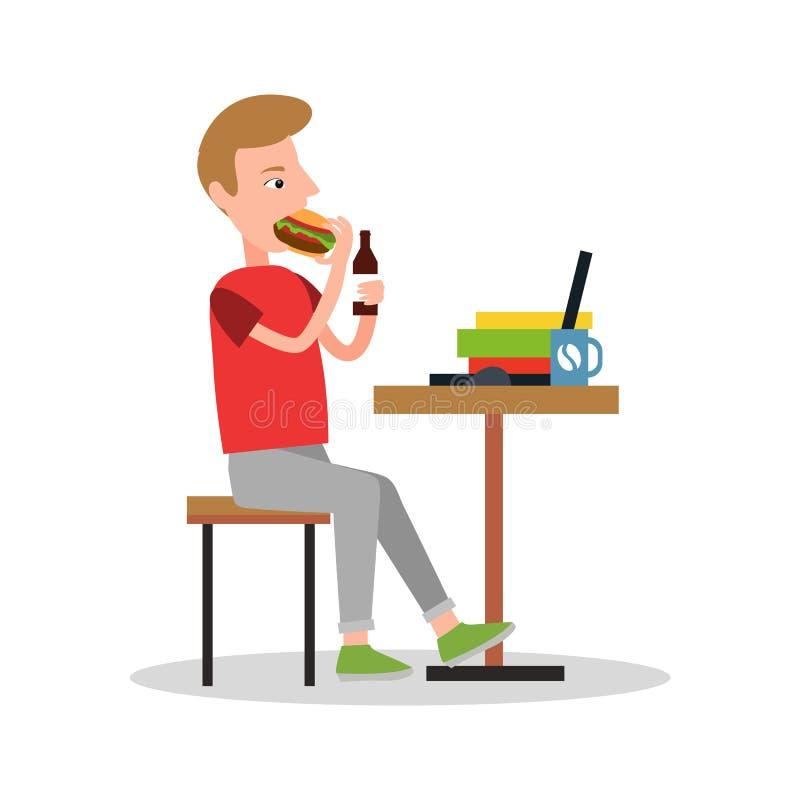 Äta och dricka arbetarvektorillustrationen royaltyfri illustrationer