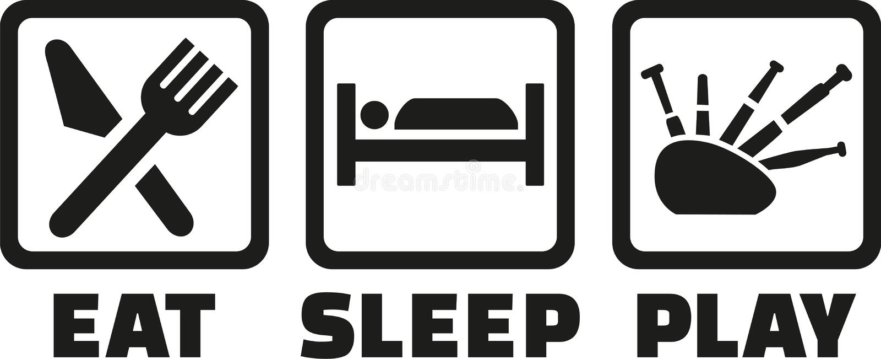 Äta säckpipe- sömnlek stock illustrationer