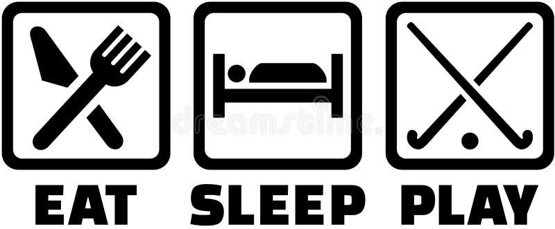 Äta sömn och spela landhockey vektor illustrationer