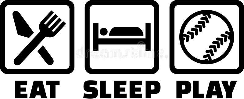 Äta sömnleksoftball vektor illustrationer