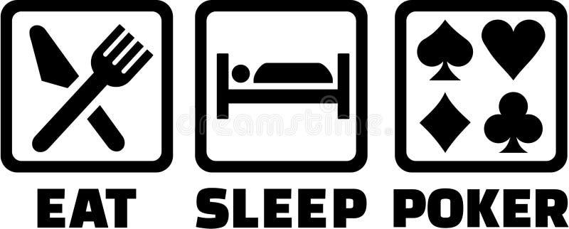 Äta sömnpokersymboler royaltyfri illustrationer
