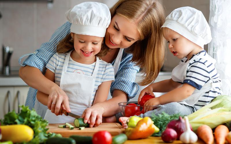 äta som är sunt Den lyckliga familjmodern och barn förbereder grönsaksallad royaltyfria bilder