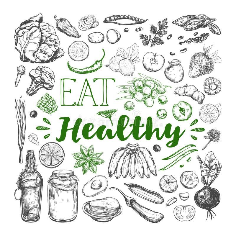 äta sund mat Vegetarian 3 vektor illustrationer