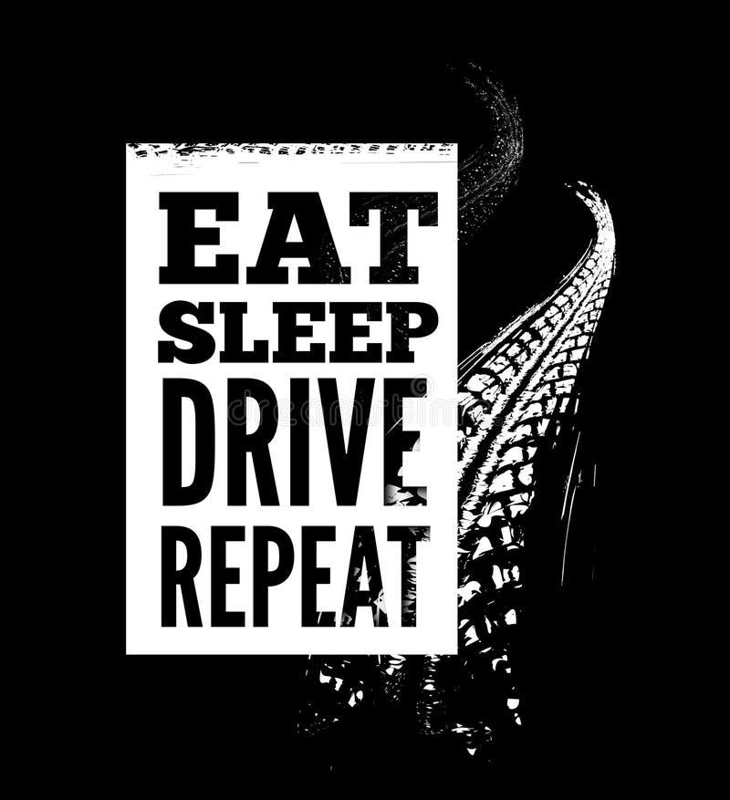 Äta text för sömndrevrepetition på gummihjulspårbakgrund vektor illustrationer