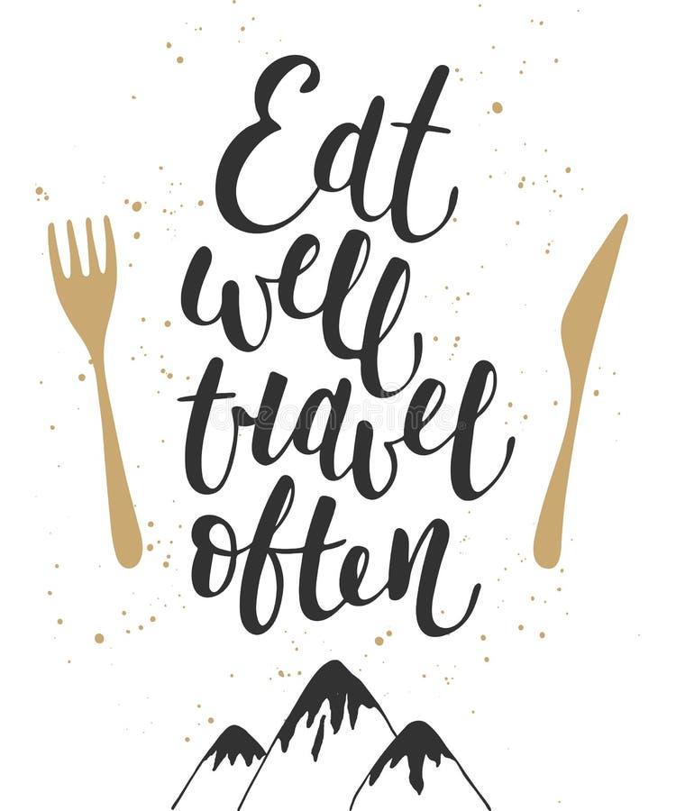 Äta väl loppet ofta, modern kalligrafi med färgstänk royaltyfri illustrationer