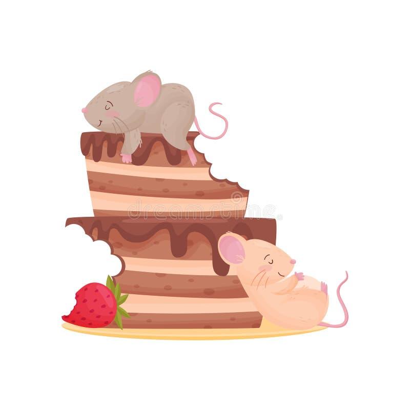 ?ter f?r mycket gullig mus tv? chokladkakan med jordgubbar white f?r vektor f?r bakgrundsillustrationhaj vektor illustrationer