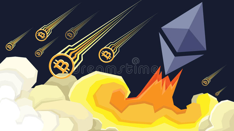 Äther wächst, Bitcoin verlässt Illustration lizenzfreie abbildung